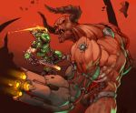 1boy 1other arm_cannon battle black_eyes clenched_hand cyberdemon cybernetic_parts demon demon_horns doom_(game) doom_eternal doomguy gloves gun height_difference hell helmet highres horns incoming_punch kelvin_hiu male_focus manly muscle power_armor red_skin sharp_teeth short_sleeves shotgun shoulder_cannon size_difference teeth visor weapon