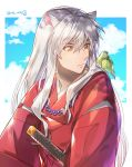 1boy animal animal_ears animal_on_shoulder bird_on_shoulder clouds fox_ears hair_between_eyes inuyasha inuyasha_(character) japanese_clothes jewelry kimono long_hair magatama male_focus motobi_(mtb_umk) necklace red_kimono silver_hair slit_pupils solo sword twitter_username very_long_hair weapon white_background yellow_eyes