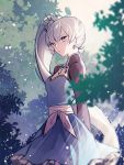 1girl arms_behind_back blue_dress blue_eyes day dress earrings ecru eyebrows_visible_through_hair floating_hair hair_between_eyes jewelry long_hair long_sleeves open_mouth outdoors rwby short_dress shrug_(clothing) side_ponytail silver_hair solo standing sunlight very_long_hair weiss_schnee