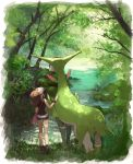1girl baseball_cap black_shirt blue_shorts brown_hair character_request day forest from_behind full_body hat highres long_hair nature outdoors pokemon pokemon_(creature) pokemon_(game) pokemon_bw ponytail river shirt short_shorts shorts sleeveless sleeveless_shirt standing touko_(pokemon) virizion white_headwear wristband yukin_(es)