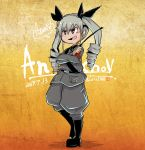 1girl anchovy anzio_military_uniform artist_logo bangs belt black_belt black_eyes black_footwear black_ribbon black_shirt boots character_name commentary_request crossed_arms dated dress_shirt drill_hair eyebrows_visible_through_hair girls_und_panzer green_hair grey_jacket grey_pants hair_ribbon holding italian_text jacket knee_boots long_hair long_sleeves looking_to_the_side military military_uniform open_mouth pants partial_commentary ribbon riding_crop sam_browne_belt shirt smile smirk smug solo standing translated tsukasa-emon twin_drills twintails twitter_username uniform v-shaped_eyebrows