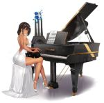 1girl alternate_costume animal animal_on_lap armlet ass azur_lane back backless_dress backless_outfit bangs bare_legs bare_shoulders black_cat blue_flower brand_name_imitation breasts brown_eyes cat dark_skin dress earrings evening_gown flower formal formalin from_behind full_body grand_piano hair_over_shoulder halterneck high_heels highres instrument jewelry kaede_(003591163) large_breasts legs lens_flare long_dress looking_back nail_polish native_american official_art parted_lips piano piano_bench sheet_music side_slit sideboob sitting sleeveless sleeveless_dress solo south_dakota_(azur_lane) south_dakota_(solo_concert)_(azur_lane) stiletto_heels strap_gap transparent_background white_dress white_footwear white_nails yamaha
