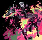 1boy belt biker_clothes black_gloves black_jacket bow_(weapon) cravat fire gloves half_gloves highres holding holding_bow_(weapon) holding_weapon horse horseback_riding jacket lio_fotia mad_burnish male_focus multiple_belts promare riding shibabablue weapon