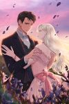 bare_shoulders bead_bracelet beads black_hair black_pants blonde_hair bracelet brown_eyes cover cover_page dress eye_contact flower formal hetero jewelry lemeiet_(sablecat) looking_at_another novel_cover official_art outdoors pants petals pink_dress pink_sky standing suit sunset