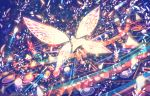 1girl ahoge colorful commentary dress fairy_wings fantasy floating_hair flying glowing light_particles long_hair original red_eyes sakimori_(hououbds) solo very_long_hair wings