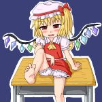 1girl arm_support bare_legs barefoot blonde_hair bloomers blush commentary_request crystal desk eyebrows_visible_through_hair fang feet flandre_scarlet foot_out_of_frame hat leg_lift legs looking_at_viewer mob_cap naughty_face oekaki open_mouth puffy_short_sleeves puffy_sleeves sanzan school_desk short_sleeves side_ponytail sitting smile soles solo toes touhou underwear wings