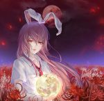 1girl animal_ears chinese_commentary clouds commentary_request crying crying_with_eyes_open expressionless field fingernails flower flower_field gyokudama_(niku) hair_between_eyes hair_blowing highres holding lips long_hair looking_at_viewer loose_necktie moon necktie night night_sky open_collar outdoors petals purple_hair rabbit_ears red_eyes red_moon red_nails red_neckwear reisen_udongein_inaba shirt short_sleeves sky solo spider_lily tears touhou upper_body very_long_hair white_shirt wind