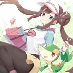 1girl black_legwear blue_eyes bow breasts brown_hair closed_mouth commentary double_bun feet_out_of_frame gen_5_pokemon highres holding holding_poke_ball ksk_(semicha_keisuke) legwear_under_shorts long_hair looking_at_viewer medium_breasts mei_(pokemon) pantyhose pink_bow poke_ball pokemon pokemon_(creature) pokemon_(game) raglan_sleeves shorts smile snivy twintails very_long_hair visor_cap yellow_shorts