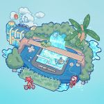 1boy 1girl bandana bicycle blue_background bridge building castform commentary creature english_commentary feebas fish fishing fishing_rod flying game_boy_advance gen_3_pokemon grass ground_vehicle handheld_game_console haruka_(pokemon) highres hoenn_route_119 holding holding_fishing_rod kecleon pokemon pokemon_(creature) pokemon_(game) pokemon_rse red_bandana rock signature simple_background tree tropius twintails water waterfall yamato-leaphere yuuki_(pokemon)