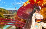 1girl absurdres azur_lane bangs blush breasts brown_eyes brown_hair commentary_request dango dark_skin day eating eyebrows_visible_through_hair floral_print flower food hair_between_eyes hair_flower hair_ornament head_tilt heart highres holding holding_umbrella huge_breasts huge_filesize japanese_clothes kimono leaf long_hair long_sleeves looking_at_viewer native_american obi outdoors paundo2 saliva saliva_trail sash sky solo south_dakota_(azur_lane) sparkle thigh-highs umbrella very_long_hair wagashi wide_sleeves