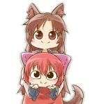 2girls animal_ears black_eyes blush_stickers bow brown_eyes brown_hair carrying chamaji chibi commentary_request disembodied_head hair_bow imaizumi_kagerou looking_at_viewer multiple_girls parody redhead sekibanki smile style_parody tail touhou wolf_ears wolf_tail younger