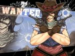 1girl ammunition_belt barbed_wire belt black_hair blue_shirt bridle brown_eyes bullet bullet_dent bullet_hole cigar commentary_request cowboy_hat crossed_arms dent dress dual_wielding english_text gun hair_over_one_eye handgun hat holding holster horse_tail kurokoma_saki mountain muscle muscular_female pink_dress red_skirt revolver ryuuichi_(f_dragon) scar scarf serious shirt short_hair short_sleeves skirt sky sneer solo tail touhou upper_body wanted weapon zoom_layer