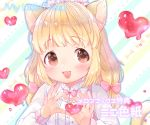 1girl :d animal_ears bangs blonde_hair blush bow brown_eyes cat_ears cat_girl cat_tail diagonal-striped_background diagonal_stripes dot_nose dripping eyebrows_visible_through_hair hair_bow hands_up heart long_hair long_sleeves looking_at_viewer mutou_mato open_mouth original pastel_colors pink_bow raised_eyebrows smile solo striped striped_background tail tareme title translated upper_body