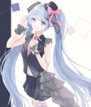1girl :d absurdres bangs black_headwear black_jacket black_skirt blue_eyes blue_hair bow collared_shirt cowboy_shot eyebrows_visible_through_hair floating_hair hat hat_bow hatsune_miku highres holding holding_microphone jacket long_hair looking_at_viewer microphone mini_hat miniskirt necktie open_mouth pink_bow pleated_skirt red_neckwear see-through shiny shiny_hair shirt skirt sleeveless sleeveless_shirt smile solo standing thigh_strap twintails very_long_hair vocaloid white_shirt wing_collar wrist_cuffs yuzuaji