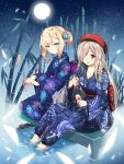 2girls absurdres alternate_costume alternate_hairstyle artist_request bamboo bamboo_forest beret blonde_hair blue_eyes blue_kimono braid flower forest french_braid full_moon g36_(girls_frontline) g36c_(girls_frontline) girls_frontline green_hair hair_flower hair_ornament hat highres huge_filesize japanese_clothes kimono moon multiple_girls nature night red_eyes shaved_ice siblings sisters wading yukata