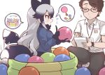 1boy 1girl afterimage animal_ears ball ball_pit black_hair blue_jacket blush bow bowtie brown_hair closed_eyes collared_shirt commentary_request extra_ears fox_ears fox_tail fur_trim glasses gradient_hair grey_hair jacket japari_symbol kemono_friends kemono_friends_pavilion long_hair long_sleeves multicolored_hair name_tag navy_blue_gloves navy_blue_neckwear navy_blue_skirt notebook original playground_equipment_(kemono_friends_pavilion) pleated_skirt shirt short_hair short_sleeves silver_fox_(kemono_friends) silver_hair skirt tail tail_wagging tanaka_kusao white_shirt writing yellow_eyes