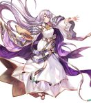 1girl bangs book breasts cape chachie circlet closed_mouth dress fire_emblem fire_emblem:_genealogy_of_the_holy_war fire_emblem_heroes full_body hair_ornament hand_up highres holding holding_book jewelry julia_(fire_emblem) long_hair long_sleeves looking_away medium_breasts non-web_source official_art purple_hair sandals see-through shiny shiny_hair solo toes transparent_background violet_eyes wide_sleeves