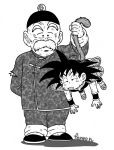 2boys arm_behind_back armor artist_name black_hair black_headwear chibi chinese_clothes commentary_request d: dirty dirty_clothes dirty_face dragon_ball dragon_ball_minus exhausted facial_hair fenyon fingernails full_body grandfather_and_grandson grandpa_gohan greyscale half-closed_eyes hanging hat holding_another's_tail male_focus monkey_tail monochrome multiple_boys mustache open_mouth shadow simple_background son_gokuu spiky_hair standing tail tail_grab thick_eyebrows white_background wrinkles