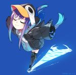 1girl absurdres animal_hood bangs black_jacket blue_background blue_bow blush bow breasts closed_eyes closed_mouth fate/grand_order fate_(series) hair_between_eyes highres hood hood_up jacket long_hair long_sleeves meltryllis meltryllis_(swimsuit_lancer)_(fate) penguin_hood purple_hair simple_background skating sleeves_past_fingers sleeves_past_wrists smile solo tsuki_tokage very_long_hair