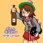 alcohol angry bagpipes beret blush brown_eyes brown_hair dress drunk female_protagonist_(pokemon_swsh) grey_sweater hat holding instrument logo pixel_art pokemon pokemon_(game) pokemon_swsh red_dress relenarudel short_hair sweater tam_o'_shanter title_screen