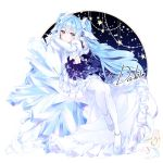 1girl artist_name blue_dress blue_eyes blue_hair dabi_(15dldl15) detached_sleeves dress full_body hatsune_miku long_hair pantyhose shoes sitting snowflakes solo twintails very_long_hair vocaloid white_footwear white_legwear white_sleeves yuki_miku yuki_miku_(2019)