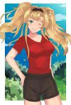 1girl black_shorts blonde_hair blue_eyes blue_sky blush border breasts casual collarbone contemporary day forest granblue_fantasy grin hand_on_hip head_tilt highres large_breasts lazycoffee_(wyen_iscordo) long_hair looking_at_viewer nature one_eye_closed red_shirt shirt shorts sky smile solo twintails white_border zeta_(granblue_fantasy)