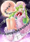 1girl aka_tawashi bangs blush bobby_socks bow bowtie breasts capelet chain clock commentary_request crescent_print dress eyebrows_visible_through_hair full_body full_moon green_eyes green_hair hair_between_eyes hand_up hat highres kazami_yuuka kazami_yuuka_(pc-98) knees_up long_hair long_sleeves looking_at_viewer medium_breasts moon night night_sky nightcap nightgown outdoors petticoat pink_capelet pink_dress pink_footwear pink_headwear red_bow red_neckwear roman_numerals sitting sky slippers smile socks solo star star_print touhou touhou_(pc-98) white_legwear wing_collar