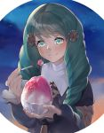 1girl blush bow fire_emblem fire_emblem:_three_houses flayn_(fire_emblem) food green_eyes green_hair hair_ornament hairclip highres ice_cream long_hair panda_inu sky solo upper_body