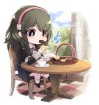1girl blue_eyes blue_hair byleth_(fire_emblem) byleth_(fire_emblem)_(female) chair chibi cookie cup eating fire_emblem fire_emblem:_three_houses food hairband highres holding long_sleeves medium_hair nakabayashi_zun pink_hairband sitting solo table teacup uniform