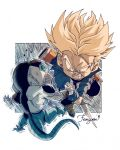 2boys artist_name attack blonde_hair blue_eyes blurry boots capsule_corp chibi chromatic_aberration clenched_teeth commentary_request denim denim_jacket dragon_ball dragon_ball_z fenyon frieza frown full_body holding holding_sword holding_weapon jacket male_focus multiple_boys serious shaded_face sliced spiky_hair super_saiyan sword teeth trunks_(future)_(dragon_ball) weapon