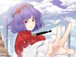 1girl artist_name bangs blue_sky clouds commentary_request dated day eyebrows_visible_through_hair foreshortening hair_ornament leaf_hair_ornament long_sleeves looking_at_viewer mudix2 outdoors pillar puffy_short_sleeves puffy_sleeves purple_hair reaching_out red_eyes red_shirt rope shide shimenawa shirt short_hair short_sleeves sky smile solo touhou twitter_username upper_body yasaka_kanako