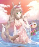 1girl :3 animal_ear_fluff animal_ears ass bangs bare_shoulders blush braid breasts brown_hair casual_one-piece_swimsuit closed_mouth clouds cloudy_sky commentary_request eyebrows_visible_through_hair floral_print flower fox_ears fox_girl fox_tail green_eyes highres himemiya_maho horizon long_hair looking_at_viewer looking_back medium_breasts monmon_shimon ocean one-piece_swimsuit orange_sky outdoors pink_flower pink_swimsuit princess_connect! princess_connect!_re:dive see-through sidelocks single_braid sky smile solo swimsuit tail very_long_hair water