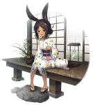1girl animal_ears azur_lane bag bell blush brown_eyes brown_hair chick_print dark_skin ear_ornament flower hair_bun hair_ornament hair_stick highres i-26_(azur_lane) i-26_(before_the_fireworks_viewing)_(azur_lane) japanese_clothes kimono looking_at_viewer official_art open_mouth plastic_bag rabbit rabbit_ears red_eyes sandals senji_(tegone_spike) short_hair sitting sliding_doors smile solo stone sunflower white_kimono wind_chime yukata zouri