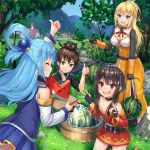 1boy 3girls aqua_(konosuba) black_hair blonde_hair blue_eyes blue_hair blush breasts cat chomusuke darkness_(konosuba) food fruit hair_ornament hair_rings hat holding holding_food holding_fruit kono_subarashii_sekai_ni_shukufuku_wo! large_breasts long_hair megumin multiple_girls open_mouth pensuke ponytail red_eyes satou_kazuma short_hair watermelon witch_hat