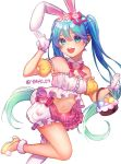 1girl animal_ears bare_shoulders basket blue_eyes blue_hair bow bowtie collar easter easter_egg egg flower gradient_hair green_hair hair_between_eyes hair_bow hair_flower hair_ornament hatsune_miku holding holding_basket long_hair looking_at_viewer midriff multicolored_hair navel open_mouth rabbit_ears simple_background single_thighhigh skirt solo thigh-highs toya_(sjadh) twintails twitter_username very_long_hair vocaloid white_background