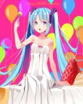 1girl 2019 absurdres balloon bare_arms bare_shoulders blue_eyes blue_hair character_name collarbone commentary_request dress food food_on_face fork fruit hair_ornament hatsune_miku highres holding holding_fork long_hair looking_at_viewer makadamixa open_mouth pink_ribbon pleated_dress purple_background ribbon sidelocks sitting sleeveless sleeveless_dress solo strawberry twintails upper_teeth very_long_hair vocaloid white_dress