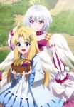 2girls absurdres angel_wings antenna_hair bangs bare_shoulders blonde_hair blue_eyes blush bow breasts closed_mouth day detached_sleeves dress eyebrows_visible_through_hair feathered_wings firo_(tate_no_yuusha_no_nariagari) fitoria_(tate_no_yuusha_no_nariagari) food highres layered_dress long_hair megami multiple_girls open_mouth short_hair silver_hair small_breasts smile tate_no_yuusha_no_nariagari very_long_hair violet_eyes white_dress white_wings wings