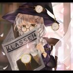 1girl absurdres black_jacket blush chair commentary_request curtains glasses hat highres jacket long_hair looking_at_viewer newspaper original shirt sitting solo watch watch white_hair white_shirt witch witch_hat yellow_eyes yuno_(suke_yuno)