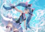 1girl a20_(atsumaru) absurdres aqua_eyes ass_visible_through_thighs blue_hair blue_sky blush bow bowtie breasts clouds commentary_request cowboy_shot day eyebrows_visible_through_hair feathers frills gloves hair_between_eyes hair_ornament hatsune_miku headphones headset highres huge_filesize long_hair looking_at_viewer open_mouth outdoors sky sleeveless small_breasts solo standing thigh-highs thighs twintails very_long_hair vocaloid white_gloves