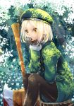 1girl axe bangs beret black_legwear blonde_hair blood brown_eyes commentary_request fate/grand_order fate_(series) feet_out_of_frame flower gloves green_headwear green_jacket grey_gloves hat jacket kabutoyama looking_at_viewer pantyhose parted_bangs paul_bunyan_(fate/grand_order) sitting solo tree tree_stump white_flower