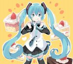 1girl :p bangs bare_shoulders black_legwear black_skirt black_sleeves blue_eyes blue_hair blush cake clenched_hands closed_mouth collared_shirt commentary_request detached_sleeves eyebrows_visible_through_hair food green_neckwear hair_between_eyes hair_ornament hands_up hatsune_miku headset highres long_hair long_sleeves necktie orange_background outline pleated_skirt shirt skirt sleeveless sleeveless_shirt sleeves_past_wrists slice_of_cake smile solo tantan_men_(dragon) thigh-highs tie_clip tongue tongue_out twintails very_long_hair vocaloid white_outline white_shirt