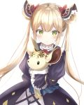 1girl bangs blonde_hair bow commentary_request double_bun dress frills frown green_eyes hair_ornament highres kichi_(kichifav) long_hair long_sleeves looking_at_viewer luna_(shadowverse) ribbon shadowverse simple_background solo stuffed_animal stuffed_toy twintails very_long_hair white_background yellow_eyes