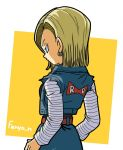 1girl android_18 arms_at_sides artist_name backlighting belt blonde_hair blue_eyes breasts clothes_writing commentary_request denim denim_skirt dragon_ball dragon_ball_z earrings expressionless eyelashes facing_away fenyon jewelry long_sleeves looking_away orange_background profile red_ribbon_army shaded_face shirt short_hair sideboob simple_background skirt solo square straight_hair striped striped_shirt upper_body waistcoat white_background