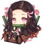 1girl artist_name bamboo bangs big_head bit_gag black_hair black_legwear brown_footwear brown_hair checkered chibi commentary english_commentary fingernails flower forehead full_body gag hair_ribbon hands_up hitsukuya in_container japanese_clothes kamado_nezuko kimetsu_no_yaiba kimono long_hair long_sleeves looking_at_viewer mouth_hold multicolored_hair nail_polish obi open_clothes parted_bangs pink_eyes pink_flower pink_kimono pink_nails pink_ribbon ribbon sandals sash sharp_fingernails shoe_soles signature simple_background solo two-tone_hair very_long_hair white_background white_legwear wide_sleeves