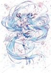 1girl :d absurdly_long_hair absurdres ahoge blue_eyes blue_hair boots floating_hair from_side full_body gloves hair_ribbon hat hatsune_miku highres holding holding_microphone lengchan_(fu626878068) long_hair looking_at_viewer microphone open_mouth ribbon skirt smile solo standing standing_on_one_leg thigh-highs thigh_boots twintails very_long_hair vocaloid white_footwear white_gloves white_legwear