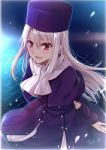 1girl absurdres arm_behind_back blush commentary_request eyebrows_visible_through_hair fate/stay_night fate_(series) grey_hair gu_li hair_between_eyes hat heaven's_feel highres illyasviel_von_einzbern jacket long_hair long_jacket looking_at_viewer open_mouth purple_headwear purple_jacket red_eyes scarf signature smile solo white_scarf