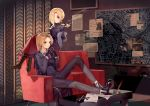 2girls ainy77 black_footwear black_pants black_shirt blonde_hair boots breasts brown_eyes character_request commentary_request copyright_request couch cross feathers hair_over_one_eye hand_up hands_up high_heel_boots high_heels indoors juliet_sleeves knee_up long_hair long_sleeves looking_at_viewer map medium_breasts multiple_girls pants paper puffy_sleeves red_skirt shirt short_hair sitting skirt smile smoke steepled_fingers table