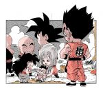 1girl 5boys :p baby bald black_eyes black_hair black_headwear bulma chibi clenched_hands clothes_writing clouds cloudy_sky commentary_request crossed_legs dougi dragon_ball dragon_ball_z expressionless facial_scar facing_away father_and_son fenyon frown full_body grass hands_on_hips hat holding holding_baby kuririn looking_at_another mother_and_son multiple_boys nervous open_mouth outdoors outside_border profile scar scar_on_cheek serious sitting sky son_gohan son_gokuu spiky_hair straight_hair sweatdrop tenshinhan tongue tongue_out trunks_(dragon_ball) wristband yamcha