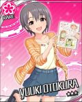 black_eyes blush character_name dress grey_hair idolmaster idolmaster_cinderella_girls otokura_yuuki short_hair smile stars wink