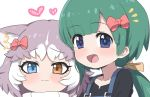 2girls :3 animal_ear_fluff animal_ears black_shirt blue_eyes blush borrowed_character bow collarbone commentary_request dog_(mixed_breed)_(kemono_friends) dog_ears eyebrows_visible_through_hair green_hair grey_hair hair_bow headshot heart heterochromia kemono_friends long_ponytail multicolored_hair multiple_girls original ransusan red_bow scarf shirt short_hair suspenders tomoe_(kemono_friends)_(niconico88059799) white_hair yellow_bow yellow_eyes